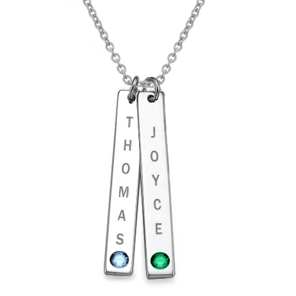 Collar colgante Vertical con cristales, Plata de Ley 0.925