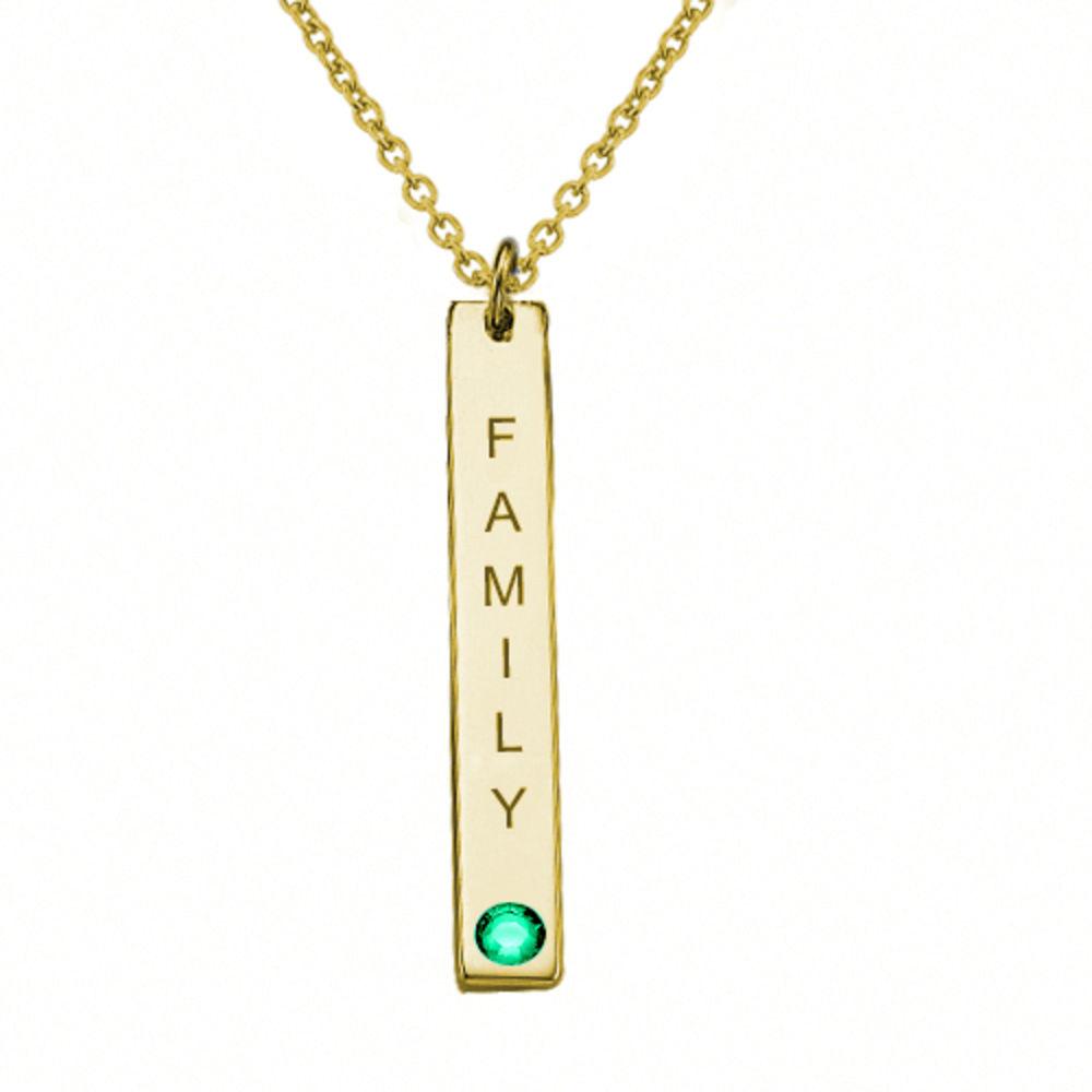 Collar colgante Vertical con cristales, Plata chapada en oro 18k. - 1