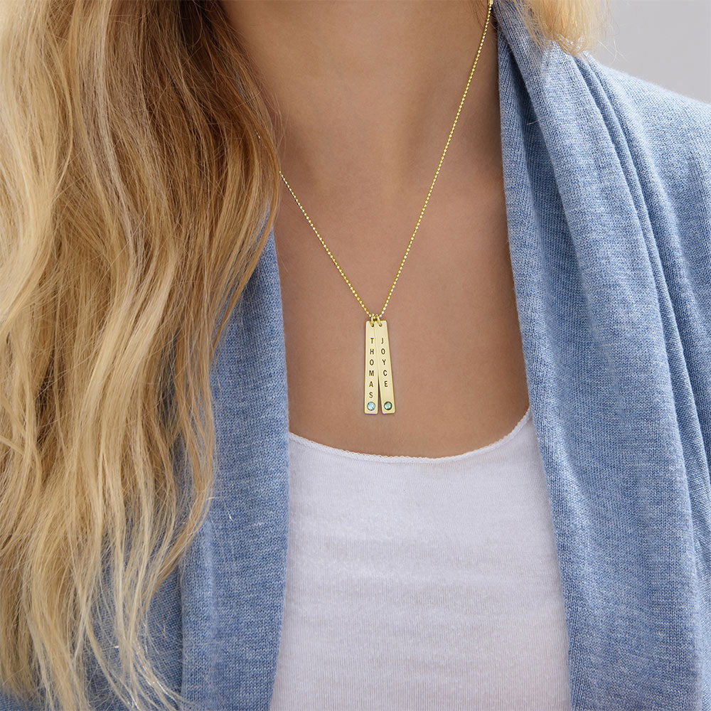 Collar colgante Vertical con cristales, Plata chapada en oro 18k. - 3