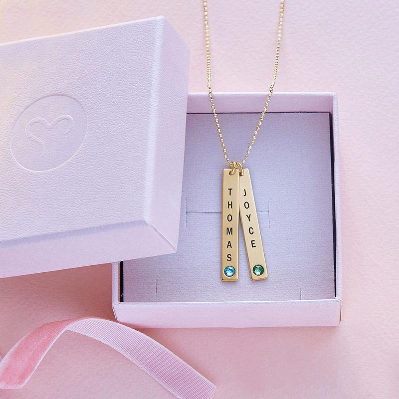 Collar colgante Vertical con cristales, Plata chapada en oro 18k. - 6