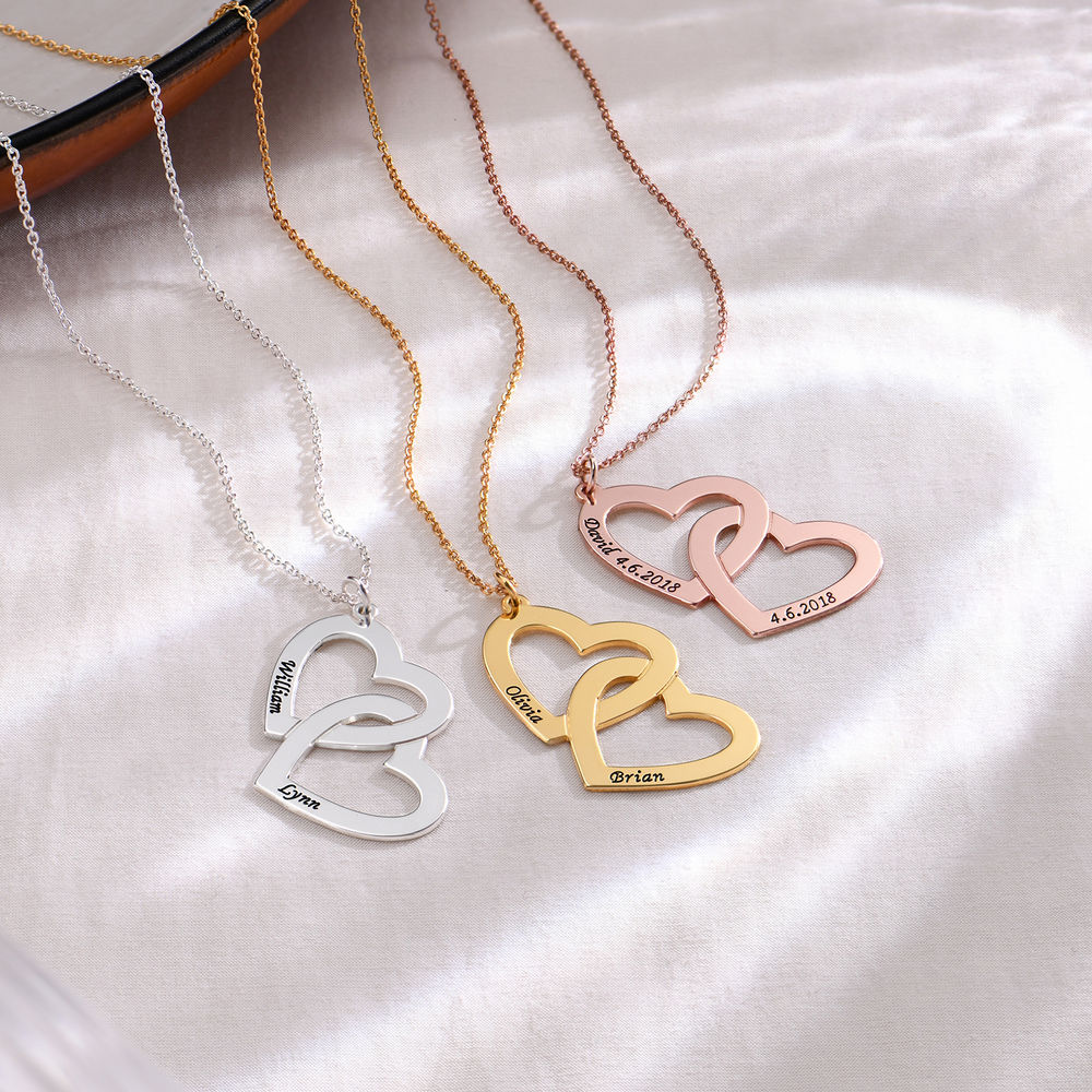 Collar  Corazón en el Corazón de Plata Chapado en Oro - 1