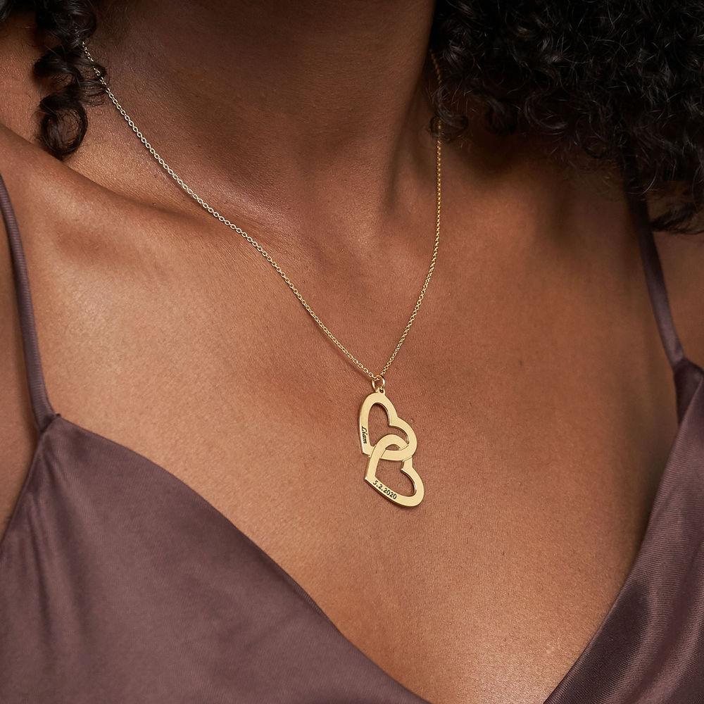 Collar  Corazón en el Corazón de Plata Chapado en Oro - 3