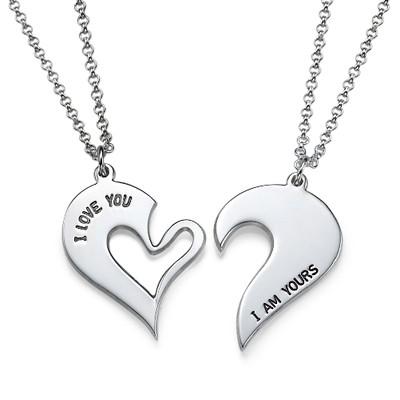 Collar de Corazón Divisible para parejas en plata foto de producto