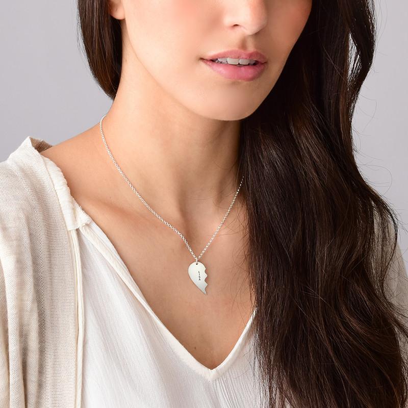Collar Personalizado de Plata con Corazón Divisible - 2