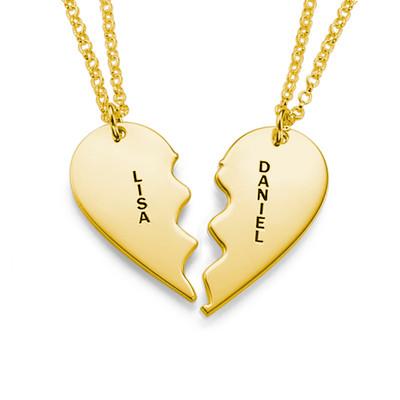Collar Personalizado Chapado en Oro con Corazón Divisible - 1