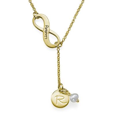 Collar Infinito en forma de Y, con inicial chapado en oro 18k foto de producto