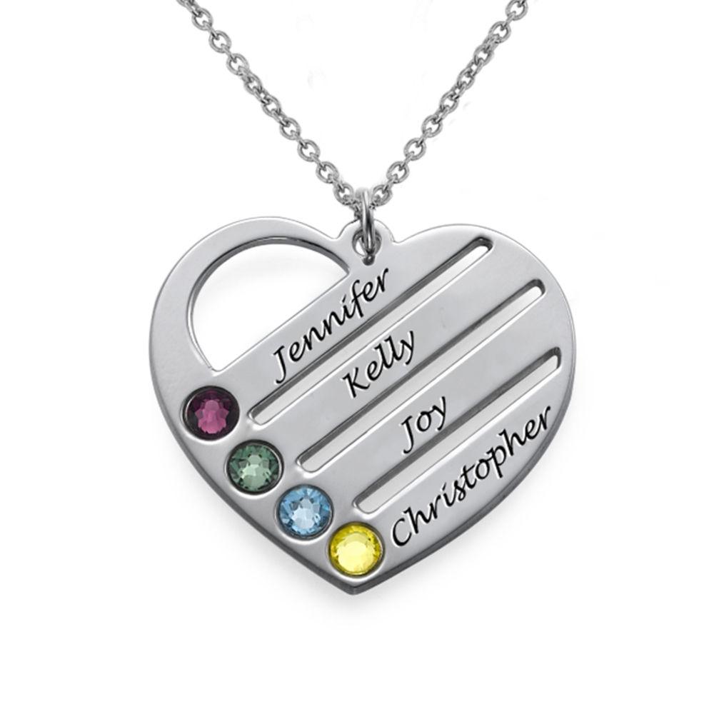 Collar de Corazón con Nombres y Piedras en Plata de Ley
