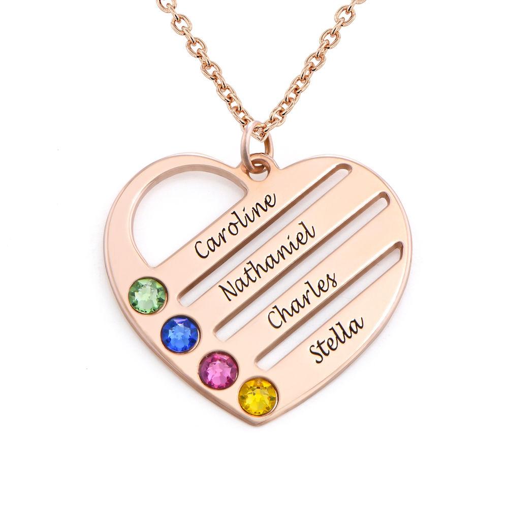 Collar de Corazón con Nombres y Piedras Chapado en Oro Rosa 18k