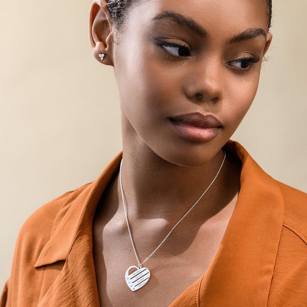 Collar de Corazón con Nombres y Diamantes en Plata de Ley - 2