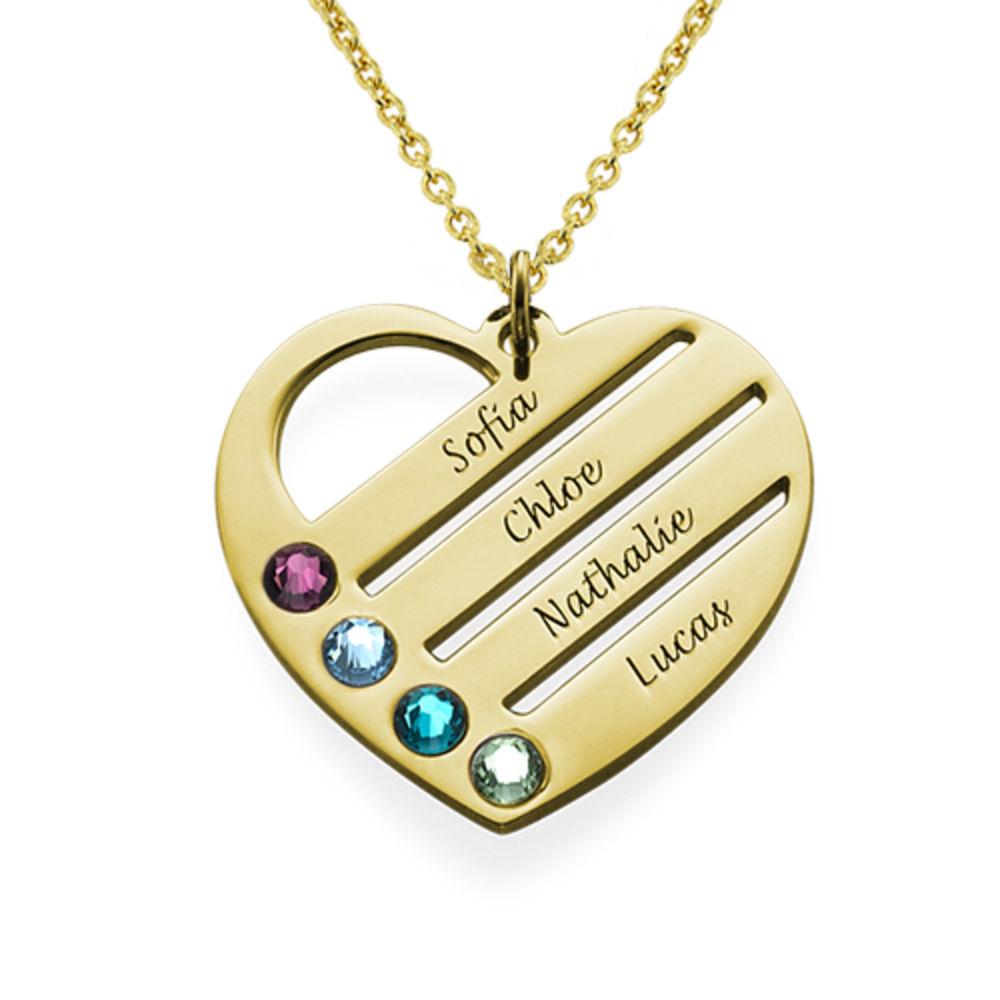 Collar de Corazón con Nombres y Piedras en Oro Vermail