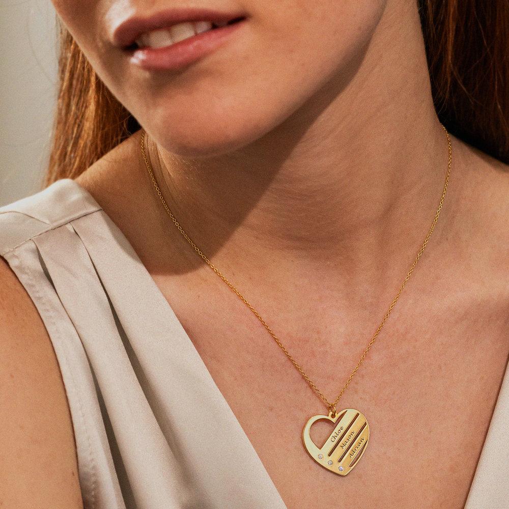 Collar de Corazón con Nombres y Diamantes en Oro Vermail - 1