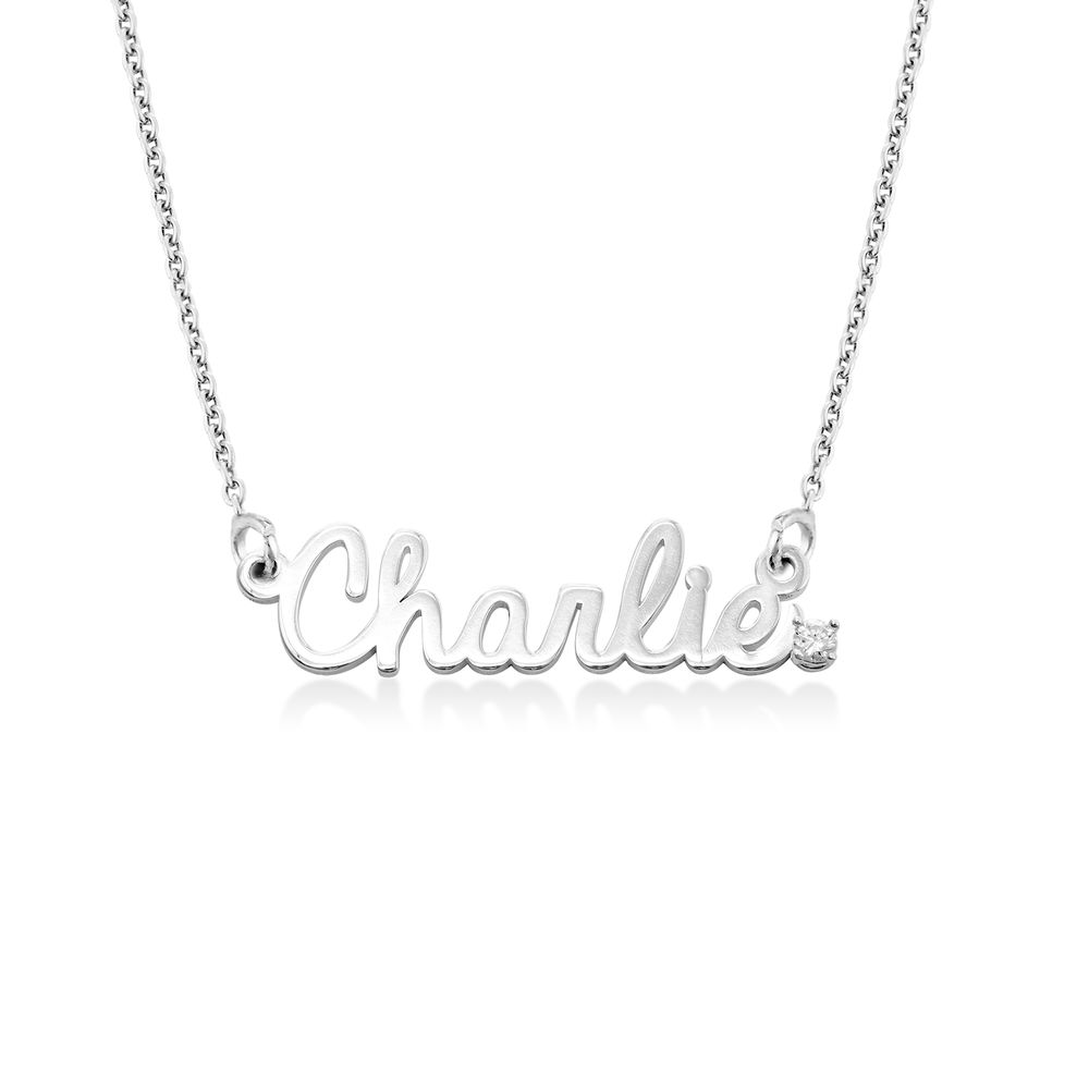 Collar con nombre cursivo en plata de ley con diamantes