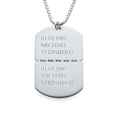 Collar Militar con Nombre en Plata de ley