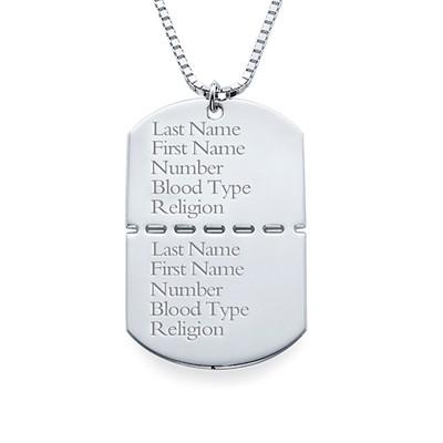 Collar Militar con Nombre en Plata de ley - 1