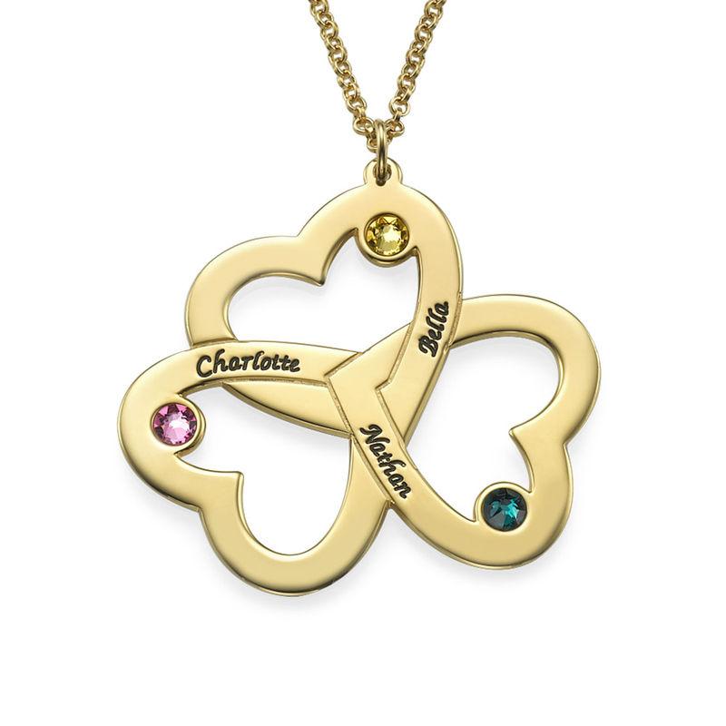 Collar Triple Corazón Personalizable Chapado en Oro 18K foto de producto
