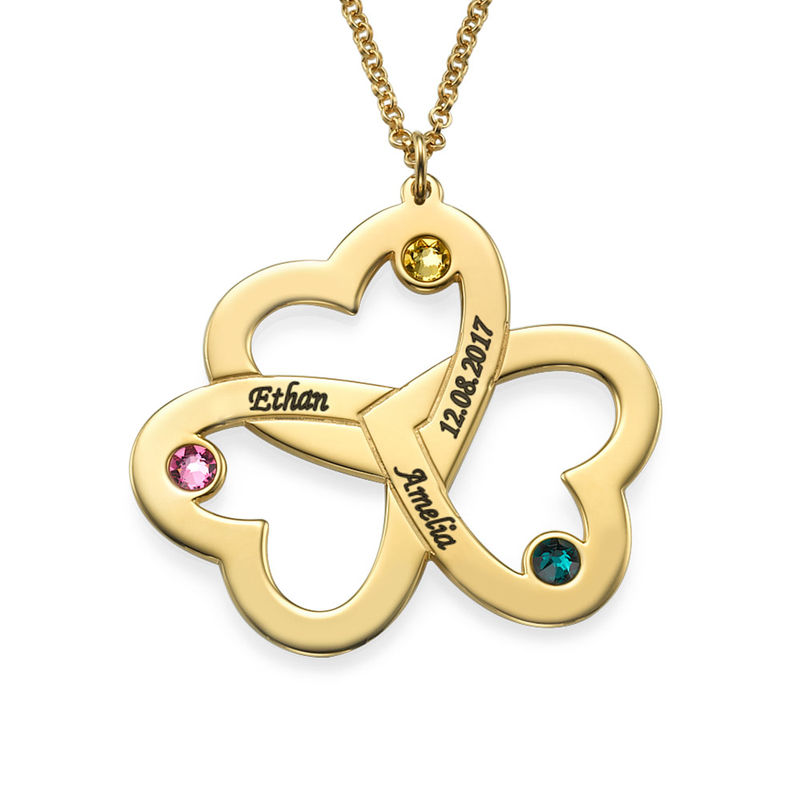 Collar Triple Corazón Personalizable Chapado en Oro 18K - 1