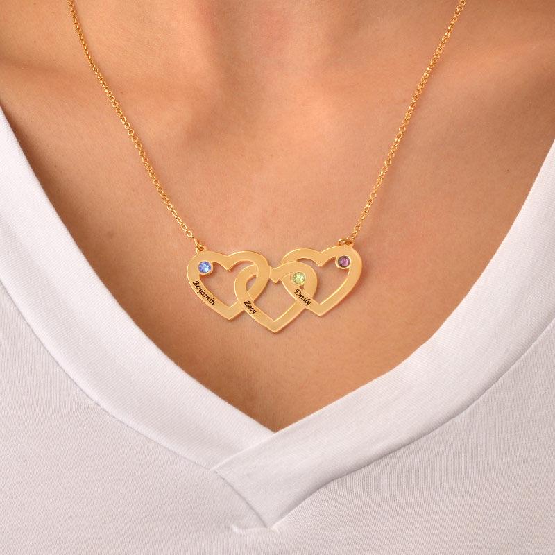 Collar Corazones Entrelazados con Piedras de Nacimiento en Chapa de Oro - 3