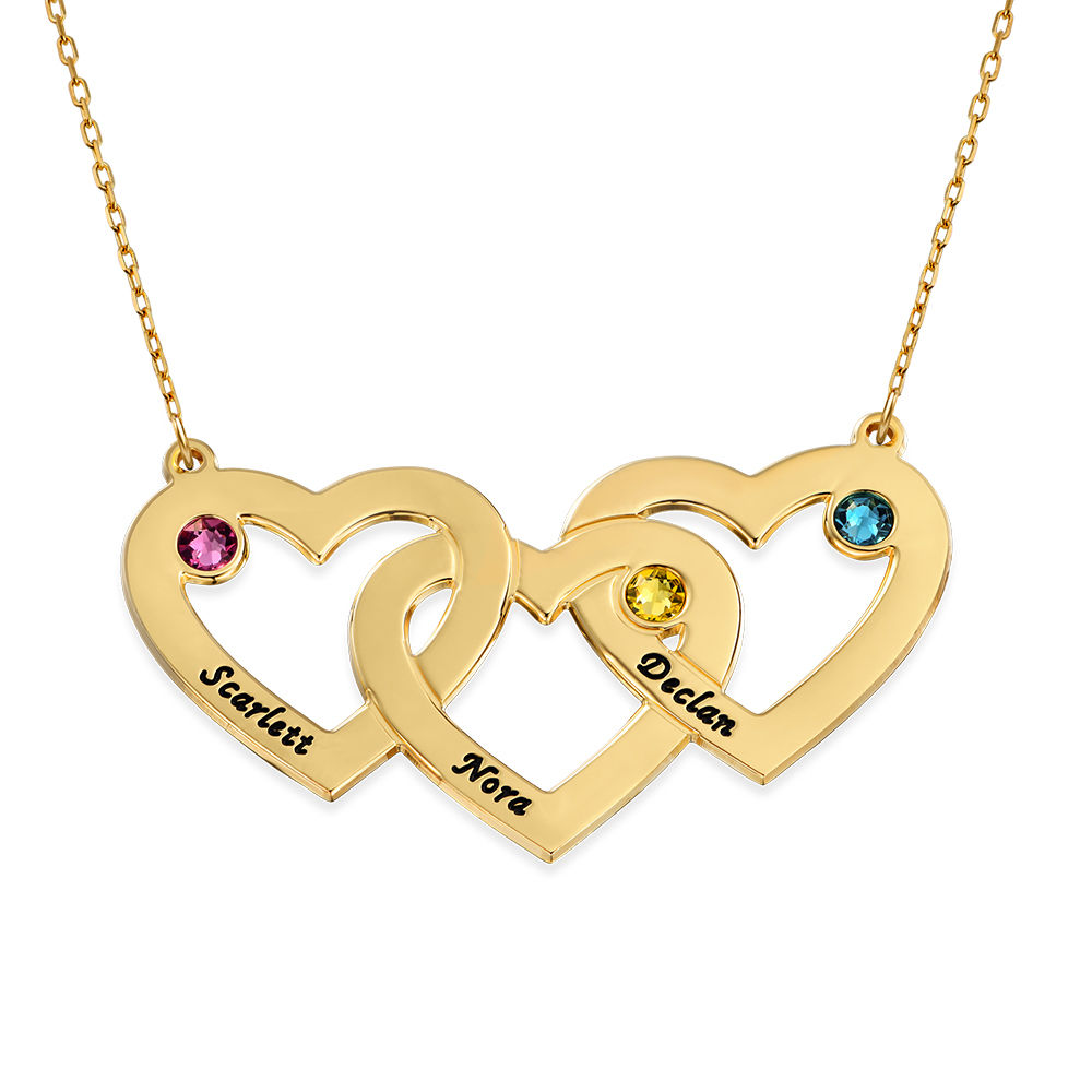 Collar Triple Corazón entrelazado con  piedras en oro de 10K