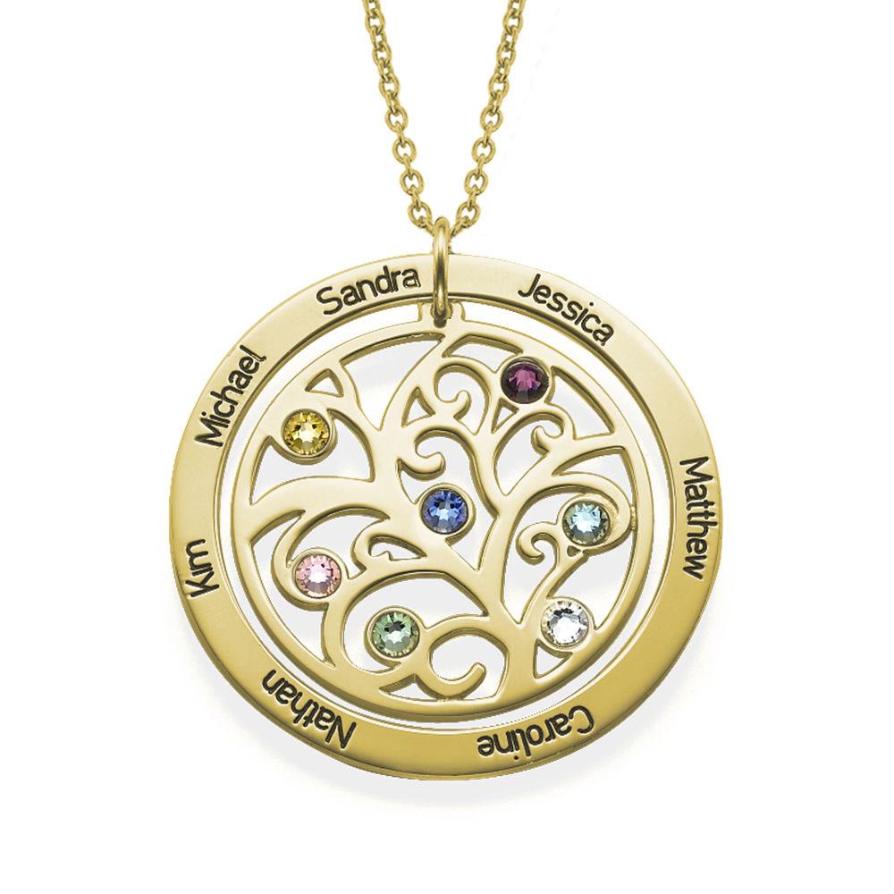 Collar con Árbol de la vida con Piedras del Zodiaco Chapado en Oro 18K
