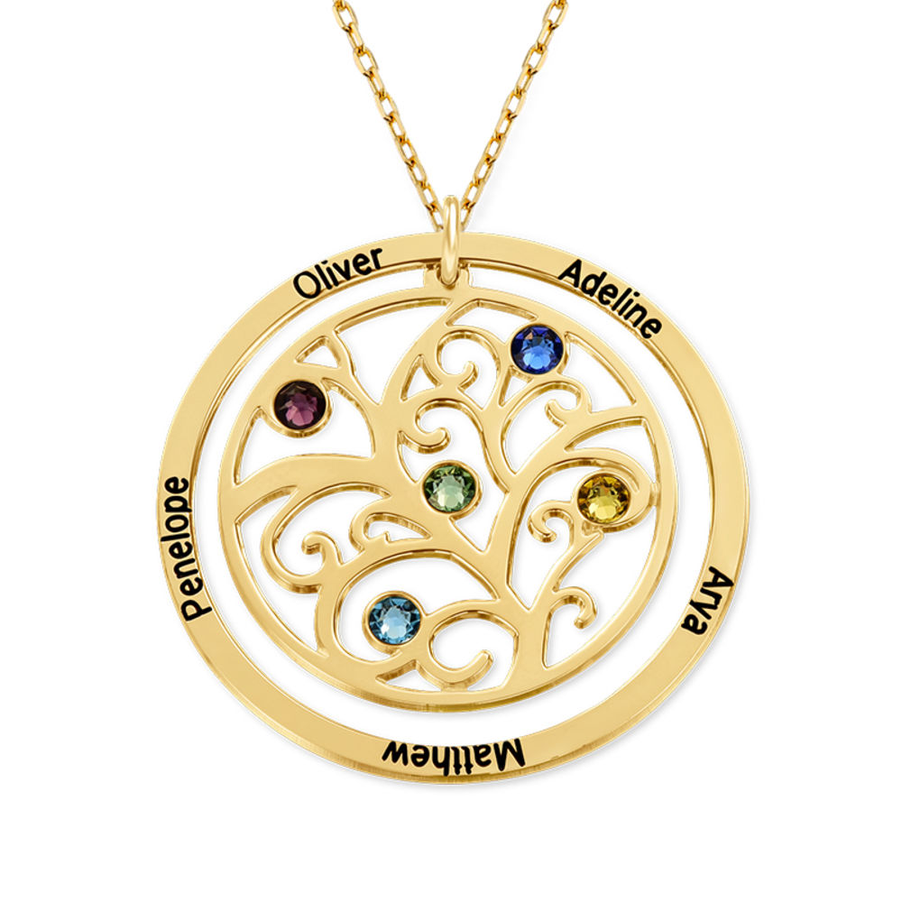 Collar con Árbol de la vida con Piedras del Zodiaco en Oro  de 10K