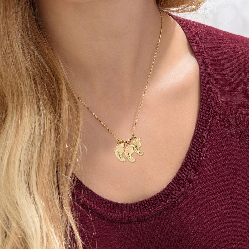 Joyas para mamá: collar con piecitos de bebé en oro Vermeil - 2