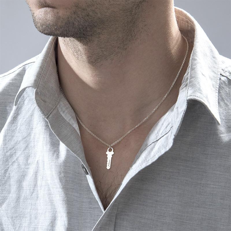 Collar Llave de Corazón Grabado - 4