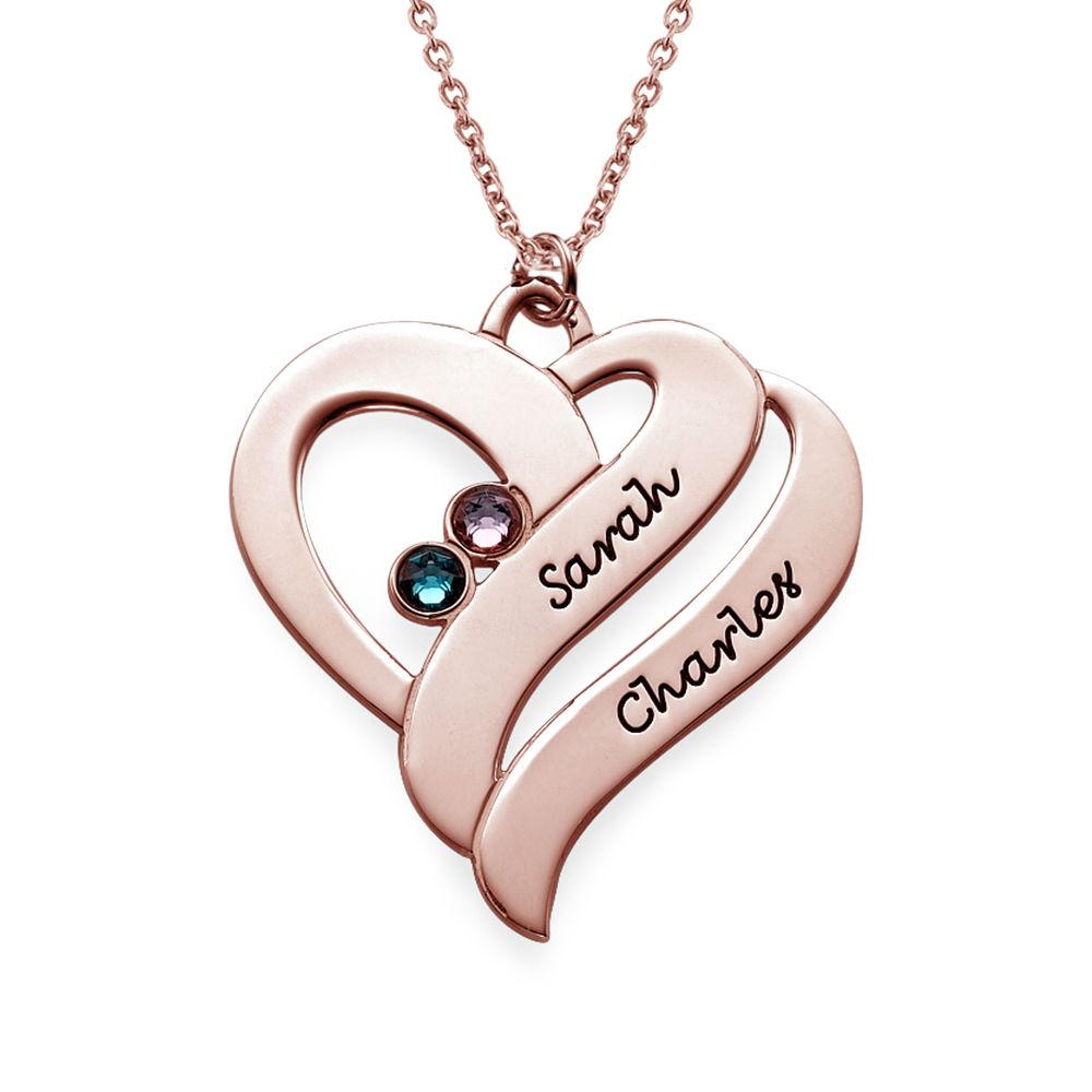 Collar Dos Corazones por siempre Uno con piedras de Nacimiento en Chapa de Oro Rosa foto de producto