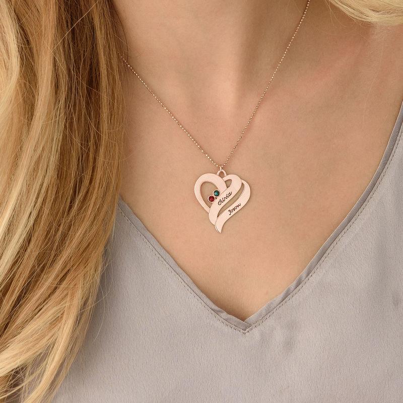 Collar Dos Corazones por siempre Uno con piedras de Nacimiento en Chapa de Oro Rosa - 4
