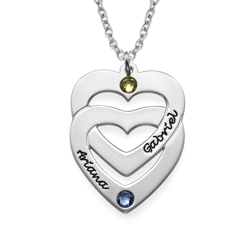 Collar Corazón en Corazón Vertical con Piedra