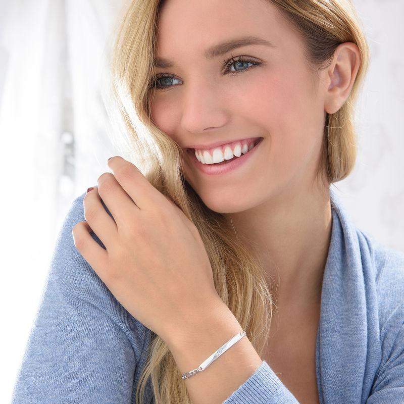 Sterling Silver Italian Women's ID Name Bracelet - 2
