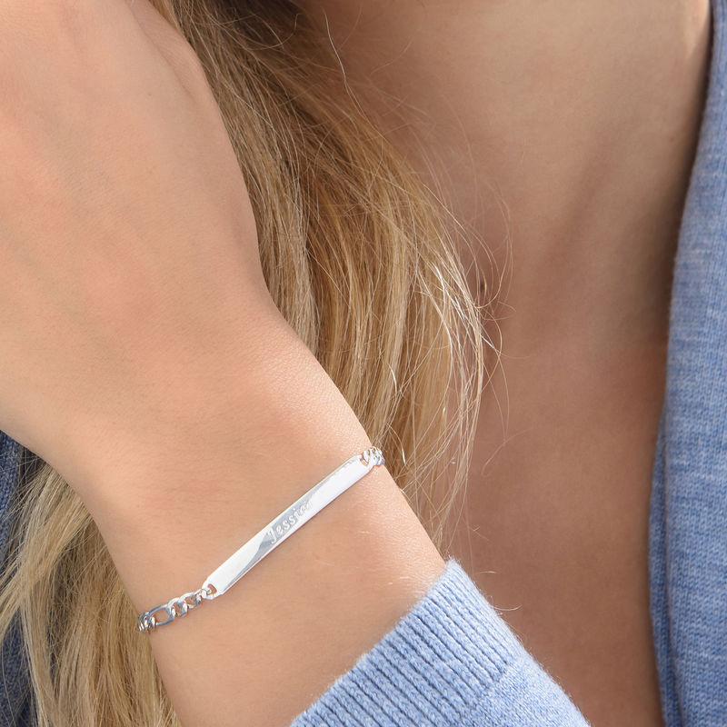 Sterling Silver Italian Women's ID Name Bracelet - 3