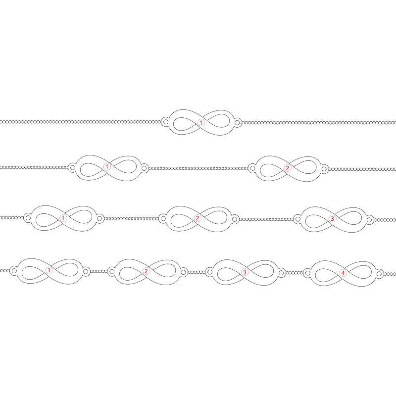 Pulsera Infinitos Múltiples con Chapa de Oro Rosa - 6