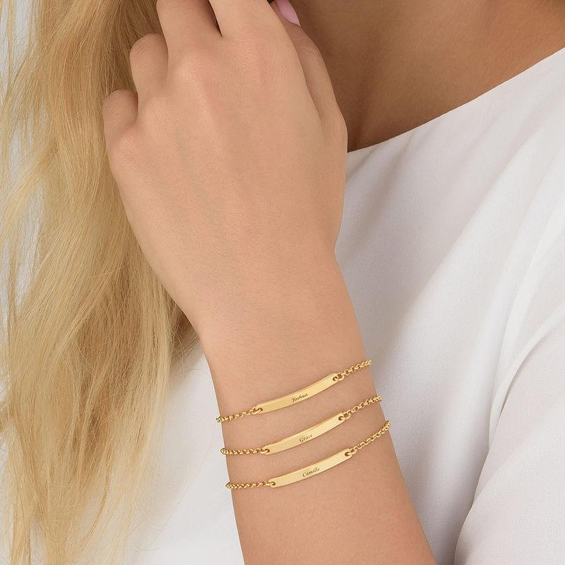 Pulsera de identificación para mujer chapada en oro - 3