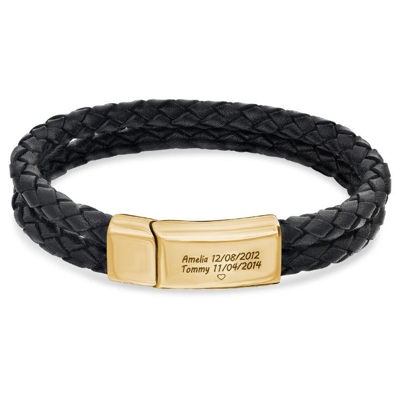Pulsera Grabada para Hombre en Cuero Negro y Acero Inoxidable Chapado en Oro 18K