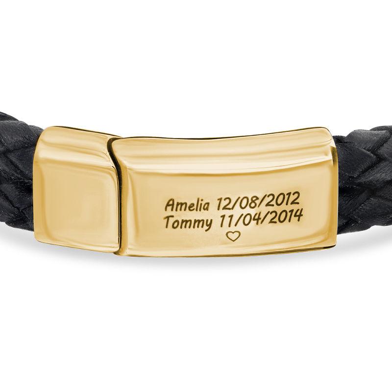 Pulsera Grabada para Hombre en Cuero Negro y Acero Inoxidable Chapado en Oro 18K - 1