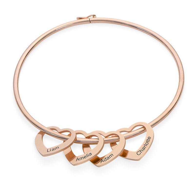 Pulsera Rígida con Colgantes en forma de Corazón Chapada en Oro Rosa product photo