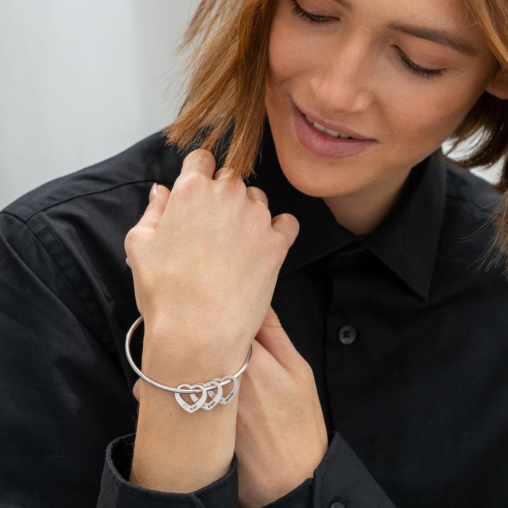 Brazalete con colgantes de corazón en plata con diamantes - 2