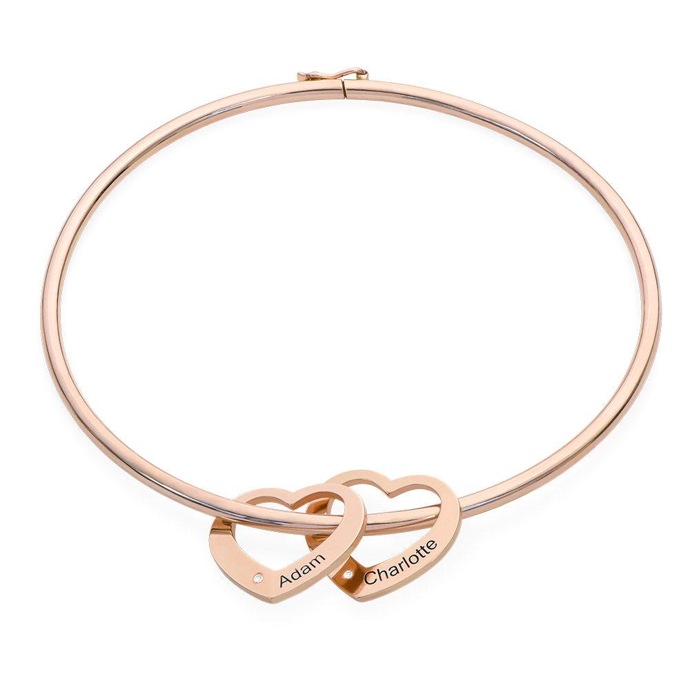 Brazalete con colgantes de corazón en chapa de oro rosa 18k con diamantes - 1