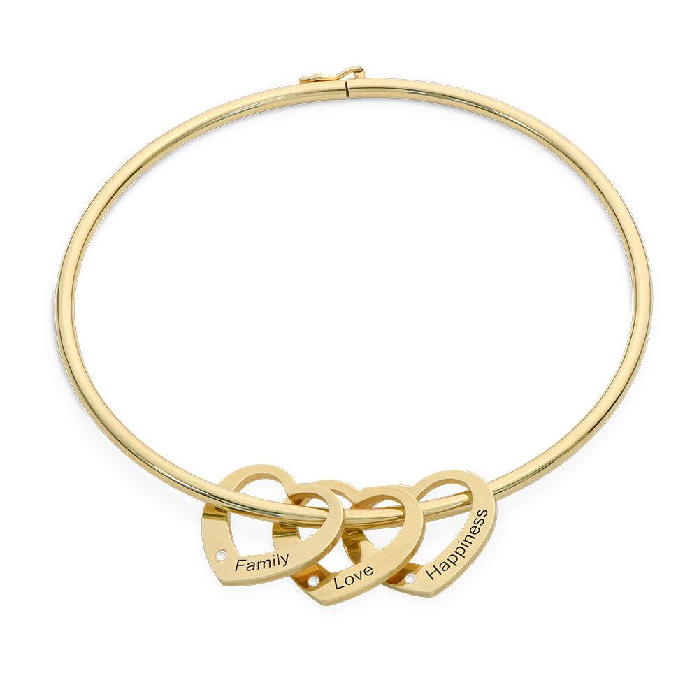 Brazalete con colgantes en forma de corazón en oro Vermeil con diamantes