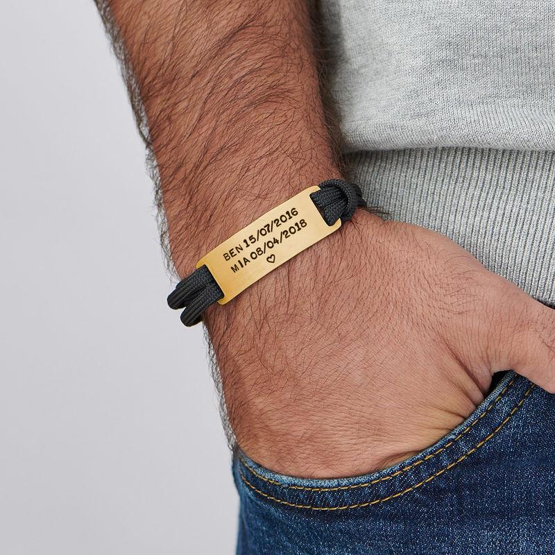 Pulsera de cordón para hombre con grabado chapada en oro de 18K - 2