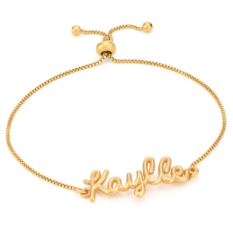 Pulsera con nombre en cursiva chapada en oro