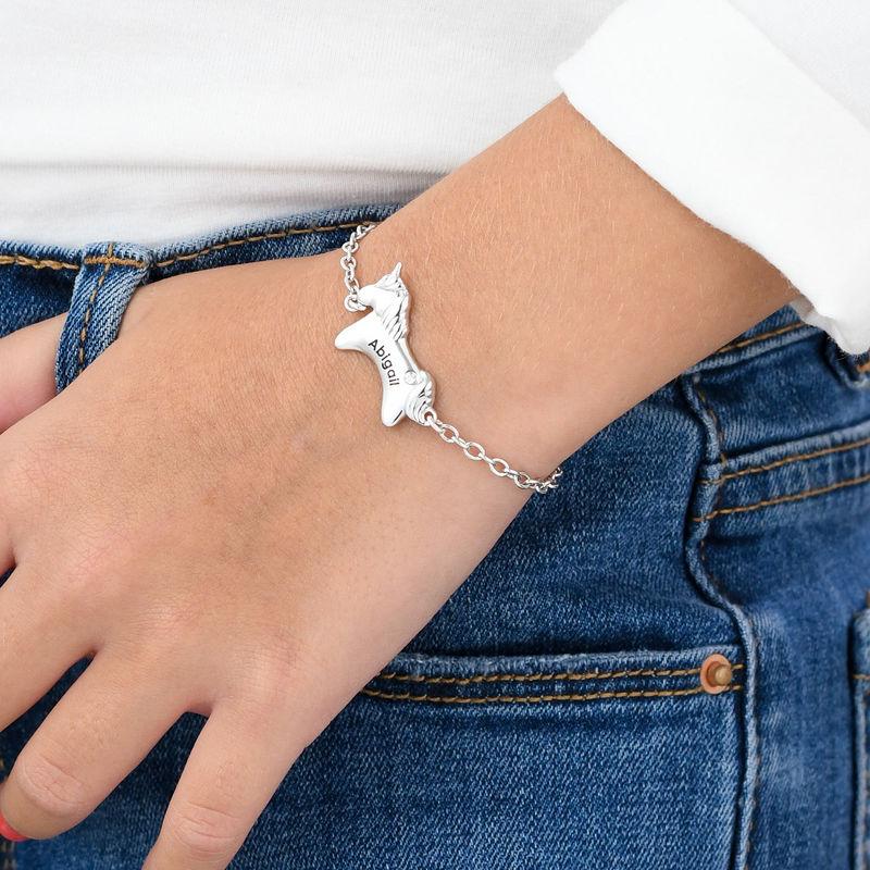 Pulsera de unicornio para niñas en plata 925 con circonia cúbica - 2