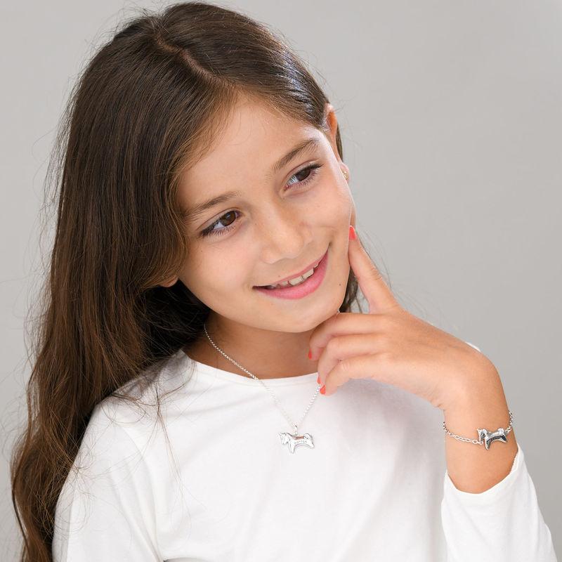 Pulsera de unicornio para niñas en plata 925 con circonia cúbica - 3