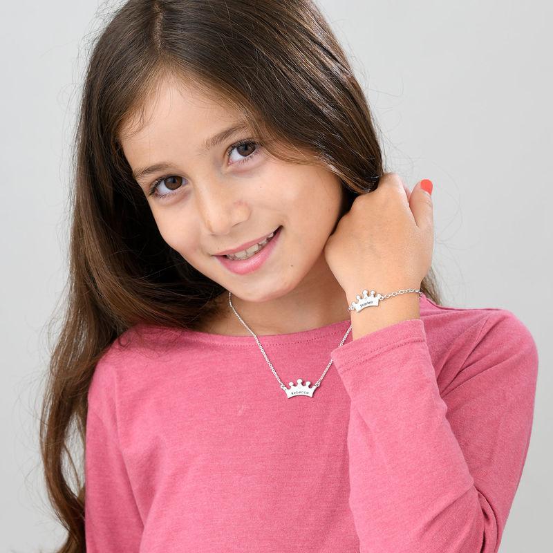Pulsera de corona de princesa para niñas chapada en oro con circonia cúbica - 3