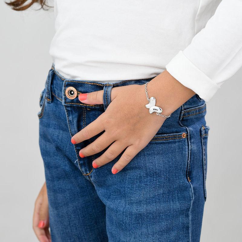 Pulsera de mariposa para niñas en plata 925 con circonia cúbica - 1
