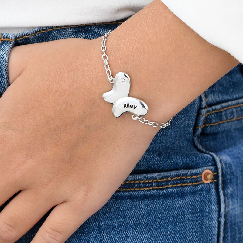 Pulsera de mariposa para niñas en plata 925 con circonia cúbica - 2