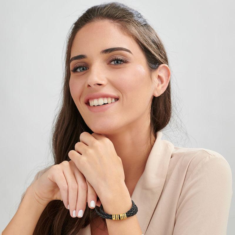 Pulsera de mujer con cuentas pequeñas personalizadas chapadas en oro - 1