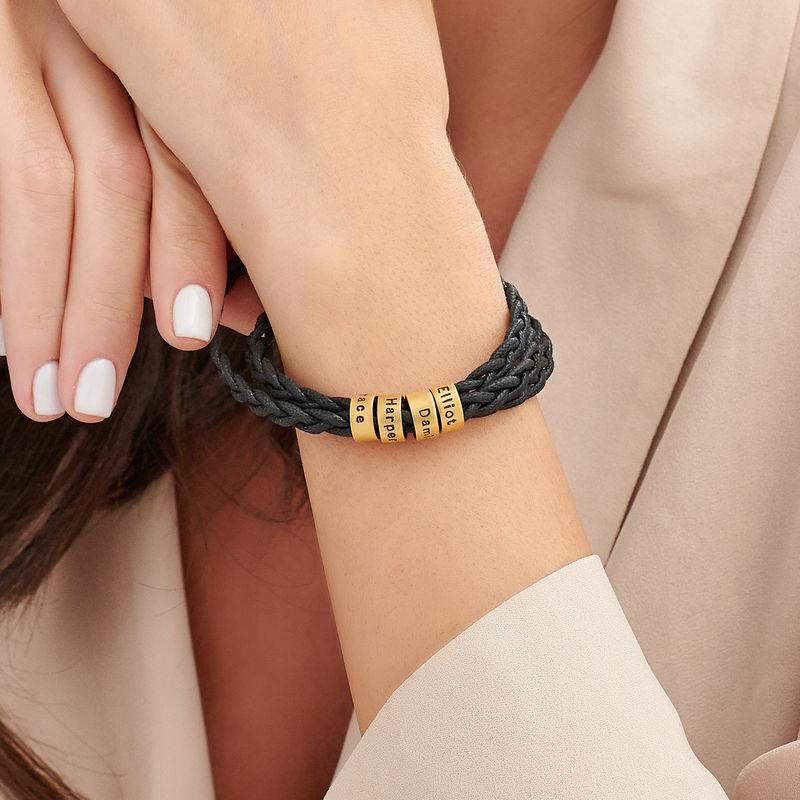 Pulsera de mujer con cuentas pequeñas personalizadas chapadas en oro - 2