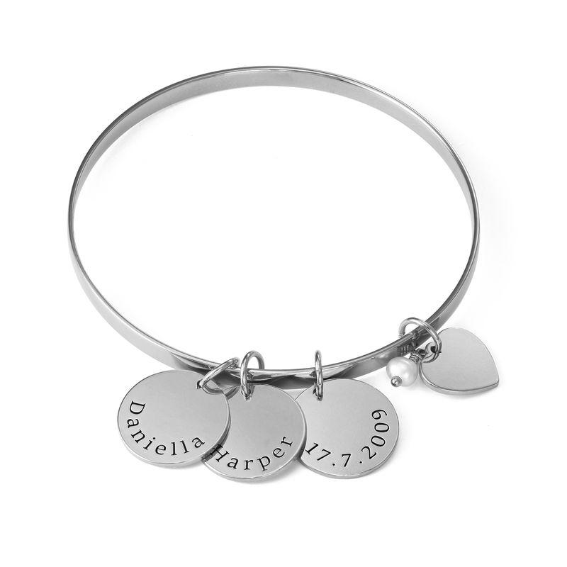 Pulsera bangle con colgantes personalizados en plata 925