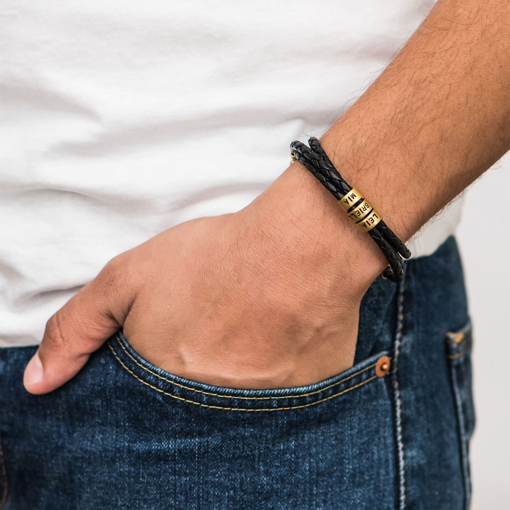 Pulseras Trenzadas para Hombre en Cuero Negro con Pequeñas Cuentas Personalizadas Chapado de Oro 18K - 3